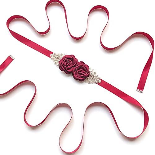 Afrsmw Cinturón para Vestido de Novia Cinturón con Flores Pedrería Cinturón Novia Mujer niña Dama de Honor Vestido de satén cinturón Boda Fajas cinturón 270cm*2cm Rotwein