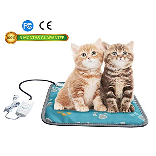 Per Pet Adjustable Temperature Heating Pad Electric Warming Mat Heated Blanket Waterproof with Chew Resistant Steel Cord for Dog Cat Small Animals-S(45×45cm),A