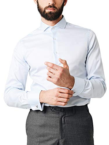 Scalpers Madrid Class DP Shirt - Camisa para Hombre, Talla 41, Color Celeste