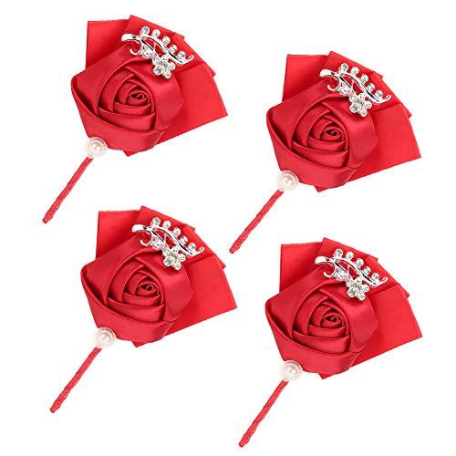 Omabeta Ramillete de Boda 4 Piezas Cinta Exquisita Ramillete de Boda Broche Dama de Honor Pecho Artificial Accesorios de Flores para Dama de Honor Despedida de Soltera Boda