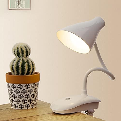QEGY 8 W LED Luz de Lectura Para Libro Regulable, Recargable USB Luz de Libro de 360° Flexible con 3 Modos, 2 Pack Blanco Lámpara de Lectura Pinza para Lectores Noche, E-Rénder, Estudio, Cama