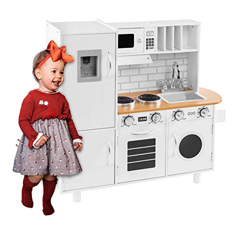 BAHOM Kids Play Kitchen Set for Toddlers Boys Girls, Chefs Pretend Toy Set with Sounds, Height Adjustable, White
