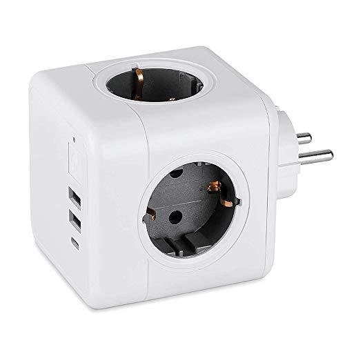 Enchufes USB, Cube Enchufe con 3 USB Puertos y 2 Tomas, Cubo Enchufe Multiple con Interruptor