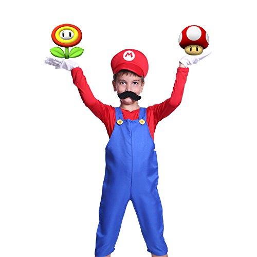 Super Mario Gr.L Klempner Kostuem mit Muetze Set Karneval Fasching Kostuem Kinderkostuem Fuer Jungen Maedchen