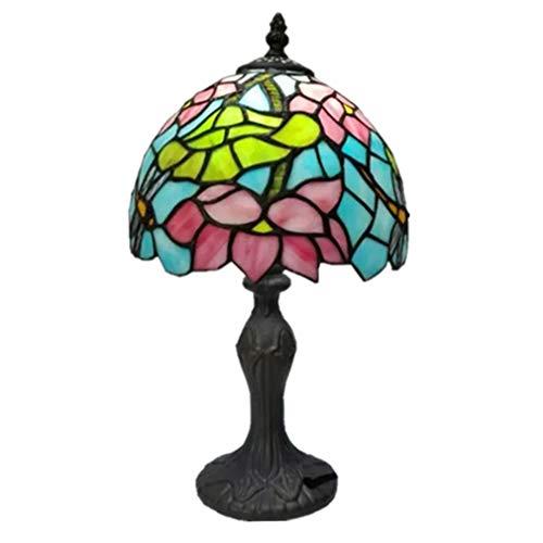 TATANE Tiffany-Stil Lesetisch, Lampe daneben, Lotus-Buntglas-Blackout Tabelle Antiquität Basis, für Kinder Wohnzimmer Schlafzimmer,7.8in