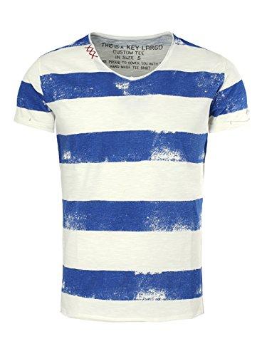 Key Largo Herren T-Shirt AIRLINE Vintage Look Gestreift mit Ziernähten V-Ausschnitt blau M