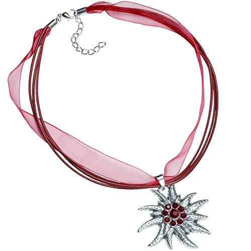 dressforfun 900578 Halskette Edelweiß, in der Länge verstellbar, für Oktoberfest & Trachten Party - Diverse Farben - (Weinrot   Nr. 302928)