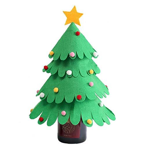 1pc árbol de navidad de la botella de vino al vino de Navidad Botella cubierta bolso Vino de la Navidad Frasco de artículos de fiesta decorativo de la cubierta para el vino de múltiples capas