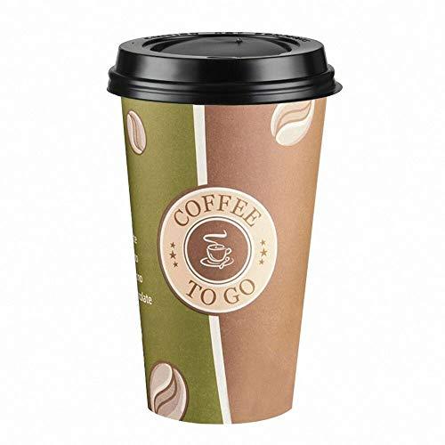 200 Stk. Kaffeebecher Premium Coffee to go mit Deckel, Pappe beschichtet 400 ml