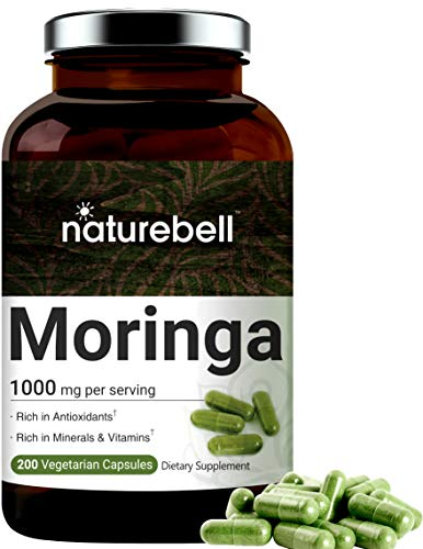 Maximum Strength Organic Moringa Capsules, 1000mg Per Serving, 200 Counts, Green Superfood Supplement, Strong Antioxidant to Repair, Protect and Nurture Your Skin Cells, Made in USA