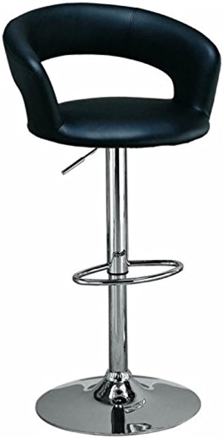 Bowery Hill 29  Faux Leather Adjustable Bar Stool in Black