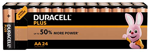 Duracell Plus Power Alkaline 1.5V, Confezione da 24 Batterie AA Non-Ricaricabili (Black, Copper)
