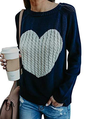 Mujer sudaderas Básico Punto Suéter de Moda O-Cuello Otoño Invierno Oversize Jerseys Blusas Abrigo Tops (Large, Azul)