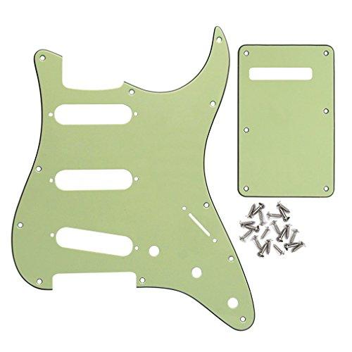 IKN Set de placa de rascar 11 agujeros SSS Style Pickguard y Tremolo Cavity Cover Placa posterior con tornillos para piezas de guitarra Fender Strat estándar de EE. UU./México, verde menta 3 capas