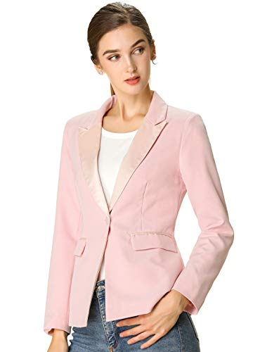 Allegra K Women's Spring Casual Notched Lapel Elegant Work Office Blazer Jacket S Pink