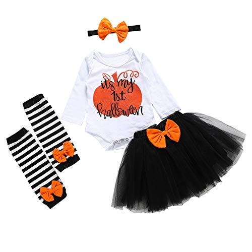 POLP Halloween Disfraz Niñas Tutu Conjuntos Ropa de Fiesta Bebe Niña Halloween Party Princesa Vestidos Cortos Disfraces Tutu Falda y Monos de Manga Larga y Banda para el Cabello 1 años