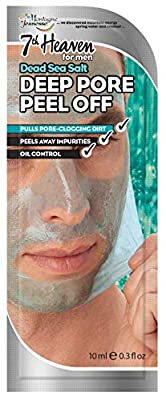 7th Heaven Dead Sea Salt Deep Pore Peel Off Face Mask for Men. With Refreshing Spearmint to Peel Away Impurities