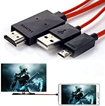 AUSURE Mobile to Tv Cable 6.5 Feet Micro USB to HDMI Cable MHL to HDMI 1080P HDTV Adapter Cable Cord for Samsung Galaxy S5/S4/S3, Note 3, Tab 3 8.0, Tab 3 10.1, Tab Pro, Note 8, Note Pro 12.2 (Red)