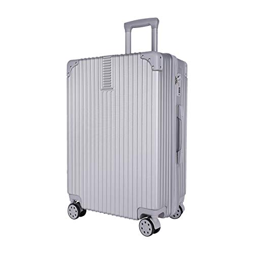 SUKOZE スーツケース キャリーケース アルミフレーム 軽量 耐衝撃 機内持込 キャリーバッグ 人気 大型 TSAロック 静音 半鏡面 旅行出張 ヘアライン仕上げ 1年保証