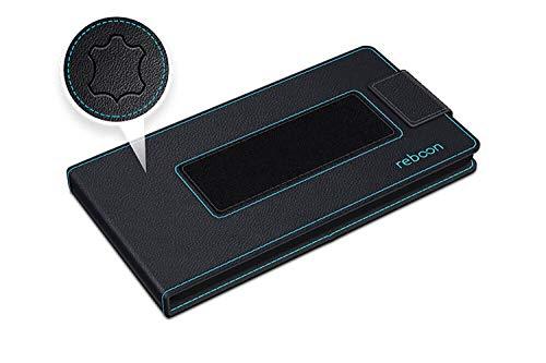 reboon Hülle für Huawei Ascend W1 Tasche Cover Case Bumper | Schwarz Leder | Testsieger - 2