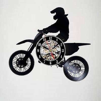 FDGFDG Vinyl Rekord Wanduhr Racer modernes Design Wohnzimmer Dekoration Offroad Motorrad Uhr Wandbehang Tisch Home Dekoration stumm