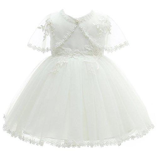 AHAHA Robes de Baptême pour Filles de Bébé Princesse Robes de Mariée Robe de Fête d'anniversaire pour Bébé avec Chapeau et Tippet, Blanc, 12M(12-16 mois )
