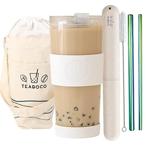 Vaso de boba reutilizable todo en uno – Botella de 24 onzas sin BPA con tapa a prueba de fugas, batidos, té de leche de burbujas y café (blanco perla)