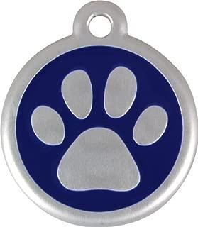 Red Dingo QR Collar Tag, Pawprint, Large, Blue