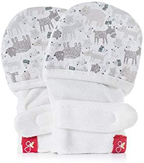 Goumikids Goumimitts Soft Stay On Scratch Mittens - Stops Scratches and Germs, Forest Friends, Gray, 3-6 Months (Pack of 1)