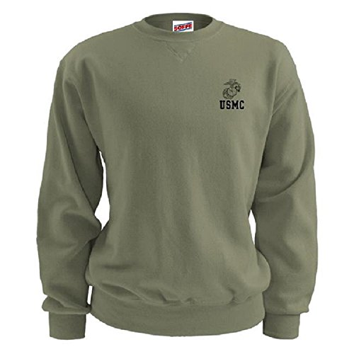 Soffe USMC Men's PT Sweatshirt Semper Fi Olive Drab With EGA (XLarge)