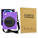 ZenRich iPad Air 4th Generation 10.9 Case 2020, zenrich iPad Pro 11 inch Case 2021/2020/2018 with Glass Screen Protector Screen Pencil Holder Stand Hand Strap Shoulder Belt, Purple