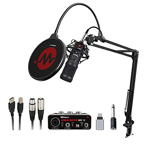 Wright WR BM 800 Condenser Microphone with WR12 USB Audio interface inbuilt phantom power supply Mic Stand and POP Filter for Podcast and Professional Studio Recording Singing Condenser mic All Full Set Kit
