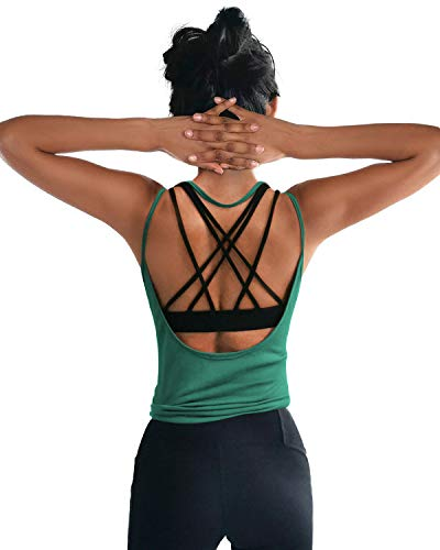 OYANUS Womens Summer Workout Tops Sexy Backless Yoga Shirts Loose Open Back Running Sports Tank Tops Cute Muscle Tank Sleeveless Gym Fitness Quick Dry Activewear Clothes for Juniors InkGreen S