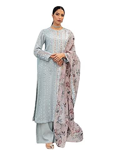 Listo para usar azul hielo Georgette largo espejo trabajo musulmán traje pakistaní con impreso Dupatta 6263 - - Large