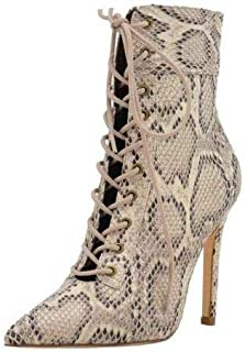 Olivia James Social Lace Up Stiletto High Heel Ankle Booties