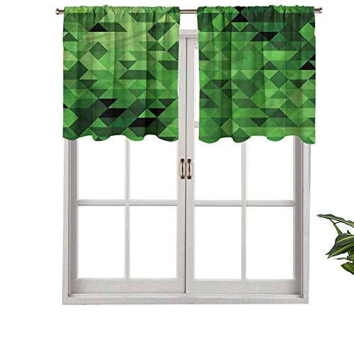 Hiiiman - Cortina para ventanas de privacidad para interiores, diseño de triángulos abstractos, 137 x 45 cm para puertas correderas de patio o comedor