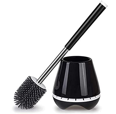 PONNEX Toilet Brush with Holder Set for Bathroom - Silicone Toilet Bowl Cleaner Brush and Holder with Tweezers, Toilet Bowl Brush Does Not Tip Over Thanks to Its Wide Base, Black