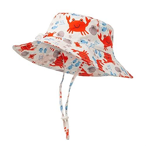 `Star Empty Sombreros para niños Summer Children Boy Girl Sharp Cangrejo Impresión Sun Sombreros Niños Bebé Mar Caps Bonnet (Color : Crab, Size : 6 Months to 2 Years)