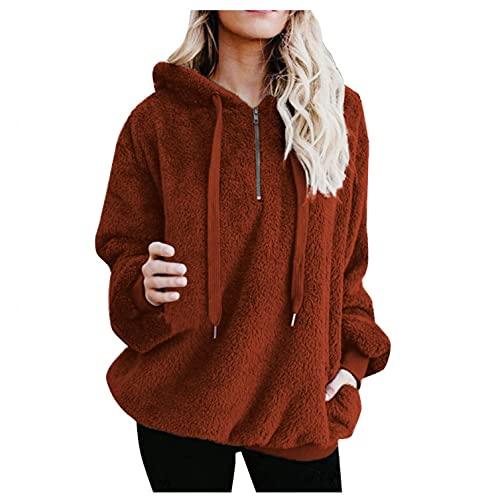 FABIURT Hoodies for Teen Girls Under 10 Dollars Women Quarter Zip Color Block Pullover Sweatshirt Tops with Pockets(S-XXL)