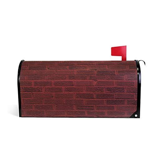 Magnetischer Briefkastenüberzug in dunkelroter Ziegelmauer, für Garten, Heimdekoration, übergroß, 64 x 45 cm