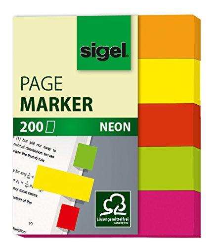 Sigel Neon - Señalizadores de quita y pon, 200 hojas, 12 x 50 mm, multicolor