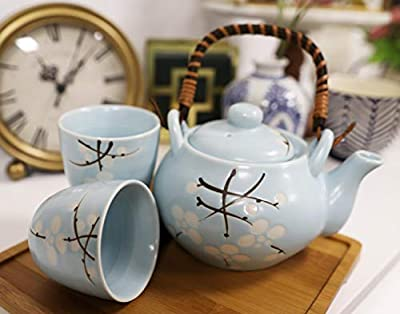 Ebros Gift Japanese Cherry Blossom Sakura Design In Pastel Sky Blue Colors Ceramic Tea Pot and Cups Set Serves 2 Excellent Home Decor Asian Living Teapots Decorative Party Hosting Dining Table Set