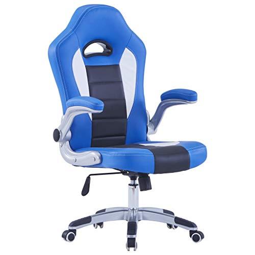 vidaXL Silla Gaming Oficina Giratoria Ruedas Altura Regulable Reposabrazos Piel Sintética Sillón Gamer Ergonómico Videojuegos Cuero Artificial Azul