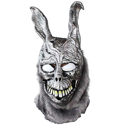YNQ Death Illusion Frank Rabbit Mask, Evil Silver Rabbit Animal Headgear, Halloween Latex Mask Movie Props
