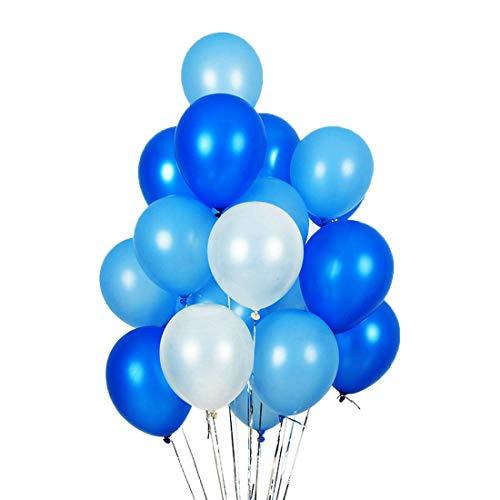 Zcoins 100 Pack 30cm Palloncini in lattice Decorazione per feste Palloncino blu, blu scuro e bianco, 3.2g