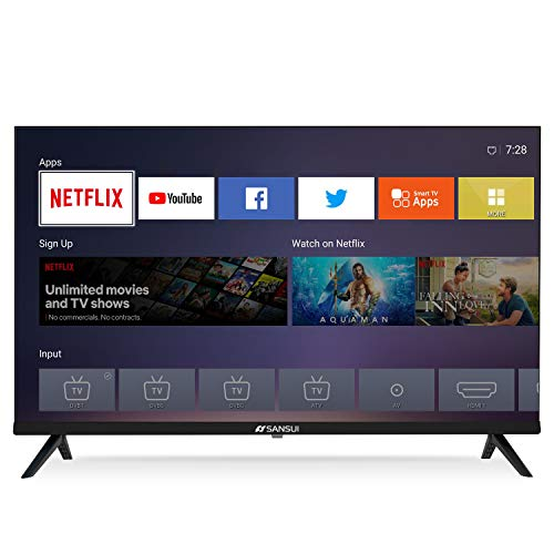 SANSUI S32 32 Inch 720p Smart LED TV - High Resolution Television Built-in HDMI, USB - Support Screen Cast Mirroring (2020 Model)