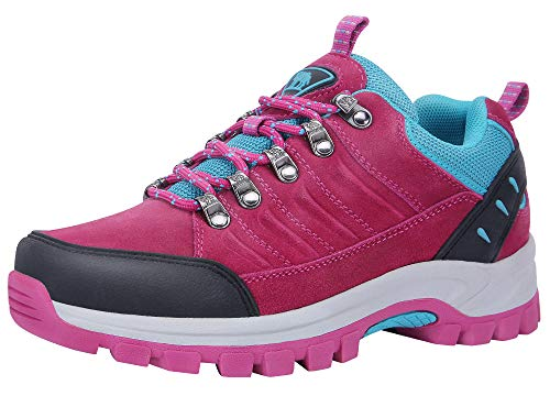 CAMEL CROWN Hiking Shoes Women Waterproof Non Slip Sneakers Low Top for Outdoor Trekking Walking Red 6.5