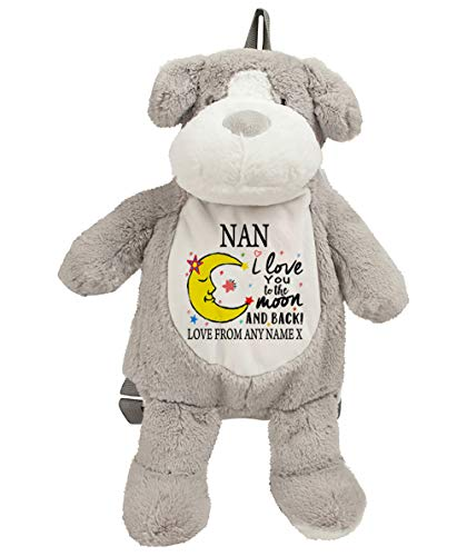 Charo Gifts Personalised Mother's Day NAN I Love You To The Moon And Back Valentine Day Anniversary Teddy Bear with Huge variation Soft Toy Birthday Secret Santa. (Dog Backpack 38 Cm)