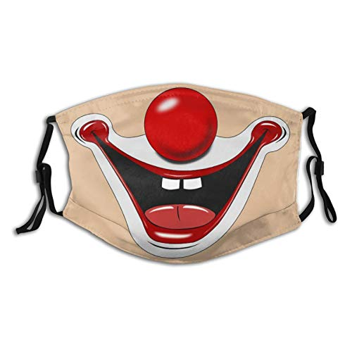 Clown Smiles Showing Two Front Teeth Face Mask Washable With 2 Pcs Filters, Reusable Face Bandanas Dust-Proof Balaclava for Men Women