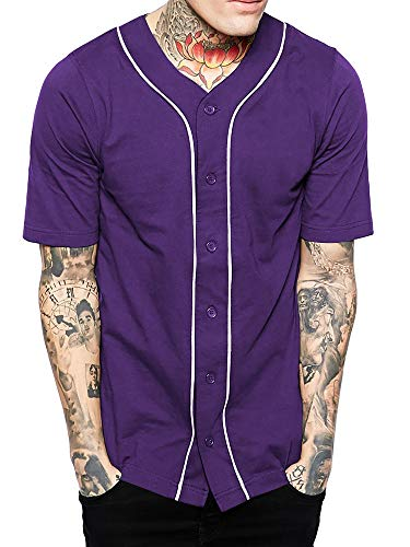 Hat and Beyond Mens Baseball Button Down Jersey (Large, 01up01_Purple/White)